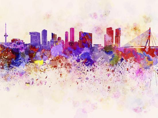 Rotterdam Skyline in Watercolor Background-paulrommer-Art Print
