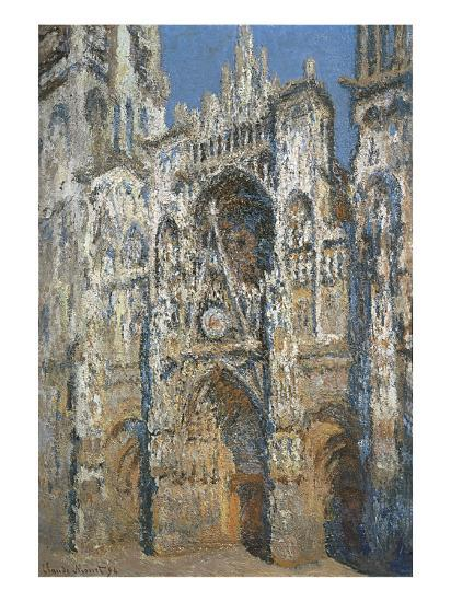 Rouen Cathedral, the Portal and the Tower of Saint-Romain, Morning Effect, Harmony in White-Claude Monet-Art Print