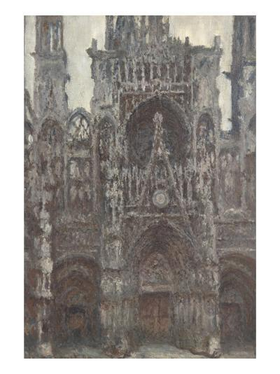 Rouen Cathedral, the Portal Front View, Harmony Brown-Claude Monet-Giclee Print