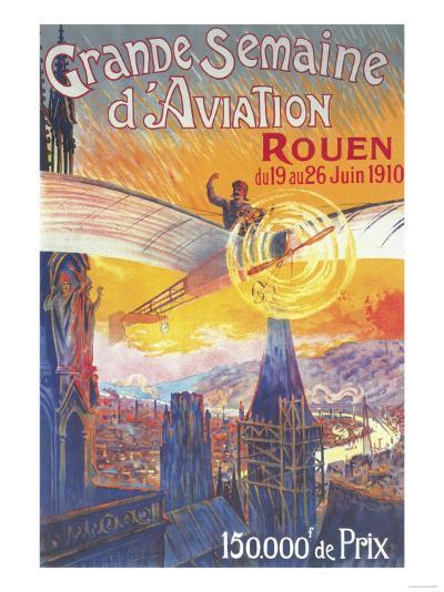 Rouen, France - Pilot and Plane over Cathedral Shocked Statues Poster-Lantern Press-Art Print