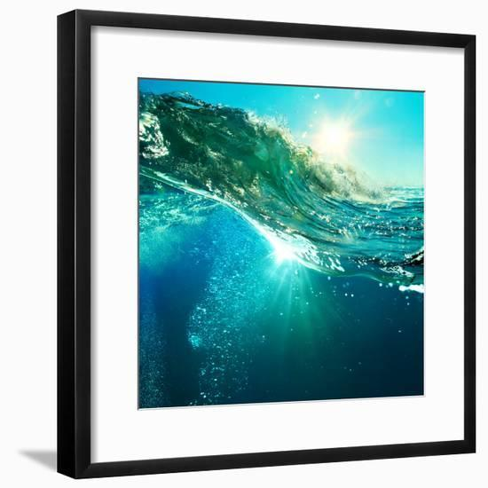 Rough Colored Ocean Wave Breaking down at Sunset Time-Willyam Bradberry-Framed Photographic Print