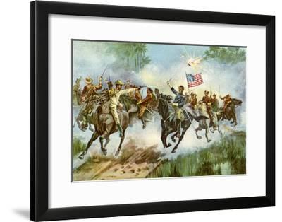 Rough Riders Stampeding a Spanish Outpost, Cuba, Spanish-American War, 1898--Framed Giclee Print