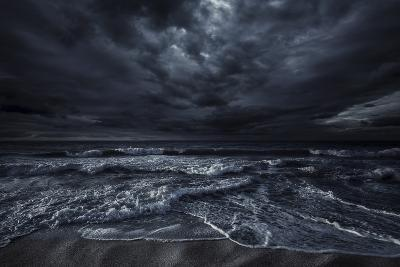 Rough Seaside Against Stormy Clouds, Hersonissos, Crete, Greece--Photographic Print
