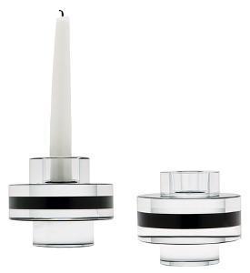 Round Crystal Tuxedo Pedestal Candleholders - Set Of 2