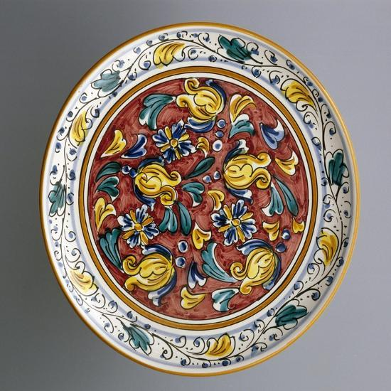 Round Dish with Floral Decorations on Carmine Red Background--Giclee Print