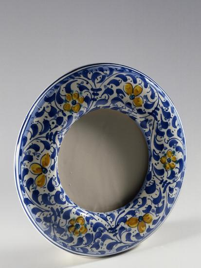 Round Photo Frame with Yellow and Blue Floral Decoration--Giclee Print