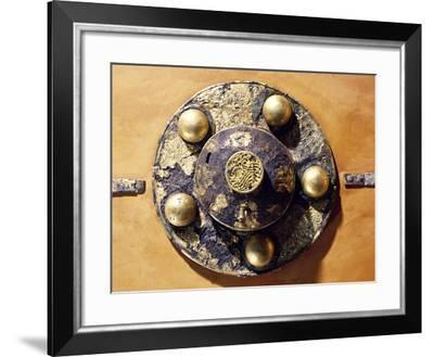 Round Shield Decorated with Geometric Patterns and Spherical Applications--Framed Giclee Print