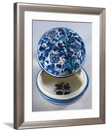 Round Sweet-Box with 17th Century Style Light Blue and Blue Decoration on a White Ground--Framed Giclee Print