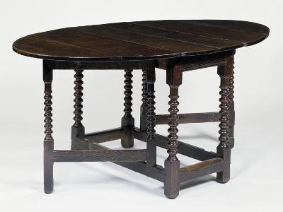 Round Table with Gate Legs, in Oak and Elm, Circa 1680, England--Giclee Print