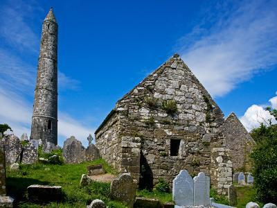Round Tower and Cathedral in St Declan's 5th Century Monastic Site, Ardmore, Ireland--Photographic Print