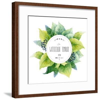 Round Watercolor Template with Green Leaves and Circular Place for Text. Vector Illustration-mika48-Framed Premium Giclee Print