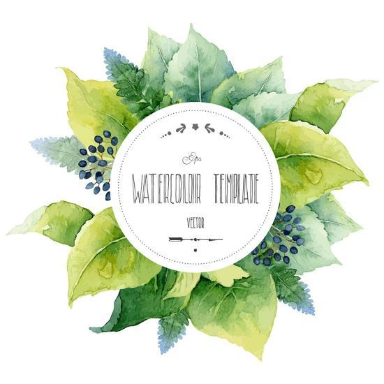Round Watercolor Template With Green Leaves And Circular Place For Text Vector Ilration Art Print By Mika48