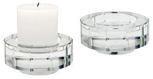 Round Windowpane Crystal Candleholders - Small. Set Of 2
