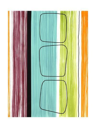 Rounded Squares on Stripes--Art Print
