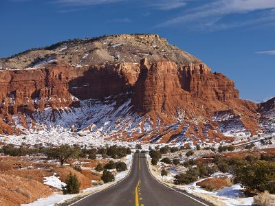 Route 24 in Winter, Capitol Reef National Park, Torrey, Utah, USA-Walter Bibikow-Photographic Print