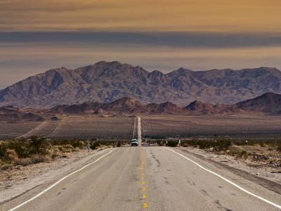 Route 66 Near Chambless with Marble Mountains in Distance, Mojave Desert-Witold Skrypczak-Photographic Print