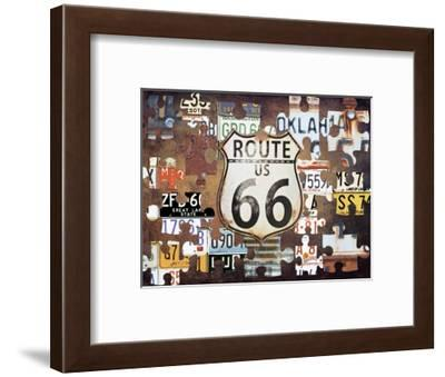 Route 66 Puzzle-Sheldon Lewis-Framed Art Print