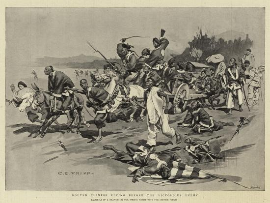 Routed Chinese Flying before the Victorious Enemy-Charles Edwin Fripp-Giclee Print