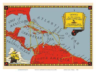 Routes of the Famous Flying Clipper Ships - Caribbean Area-Pacifica Island Art-Art Print