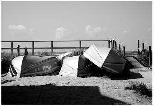 Row Boats on Ocean Beach Fire Island New York B/W