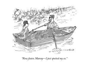 """Row faster, Manny?I just spotted my ex."" - New Yorker Cartoon"