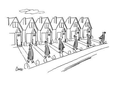 Row of identical houses; all the husbands are coming home from work, One h? - New Yorker Cartoon-Claude Smith-Premium Giclee Print
