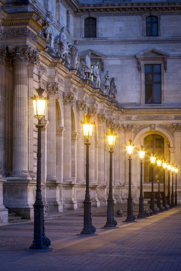 Row of Lamps in the Courtyard of Musee Du Louvre, Paris, France-Brian Jannsen-Photographic Print