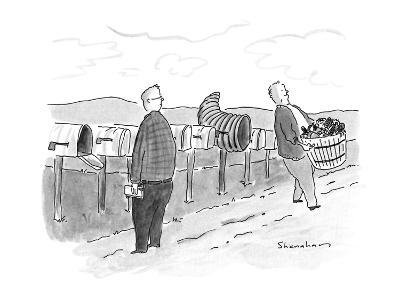 Row of mailboxes, one of which is a cornucopia.  Man walking away with a b? - New Yorker Cartoon-Danny Shanahan-Premium Giclee Print