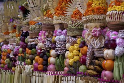 Row of Offerings at Pura Samuan Tiga Temple, Bedulu, Bali, Indonesia-Jaynes Gallery-Photographic Print