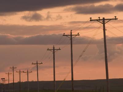Row of Telephone Poles at Sunset in Rural North Dakota-Phil Schermeister-Photographic Print