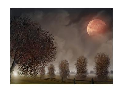 Row Of Trees Under A Pink Moon-anatomyofrockthe-Art Print