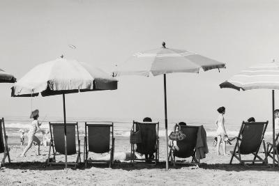Row of Umbrellas and Chairs-Beach in Viareggio-Renzo Ferrini-Photographic Print