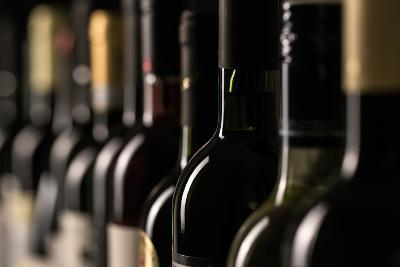 Row of Vintage Wine Bottles in a Wine Cellar (Shallow Dof; Color Toned Image)-l i g h t p o e t-Photographic Print