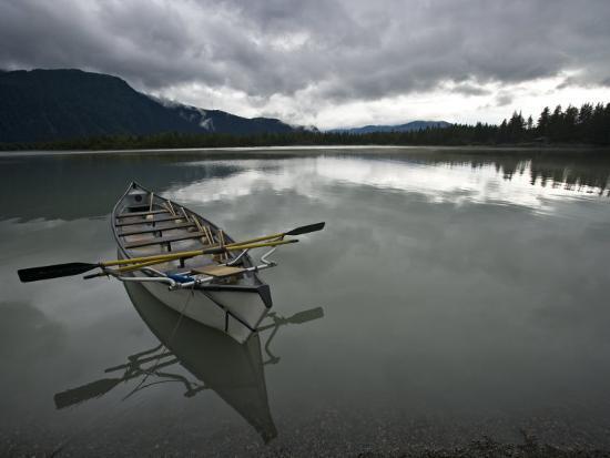 Rowboat on Glass-Like Mendenhall Lake at Dusk-Michael Melford-Photographic Print