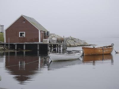 Rowboats Moored at Dock in Fishing Village Inlet, Maritimes, Canada--Photographic Print