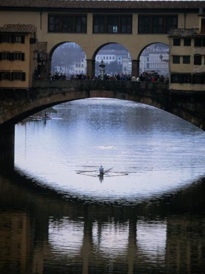 Rower on Arno River Passing Beneath Ponte Vecchio, Florence, Tuscany, Italy-Doug McKinlay-Photographic Print