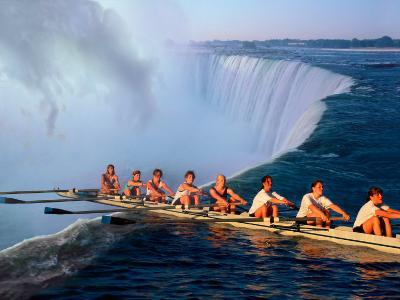 Rowers Hang Over the Edge at Niagra Falls, US-Canada Border-Janis Miglavs-Photographic Print