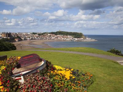 Rowing Boat and Flower Display, South Cliff Gardens, Scarborough, North Yorkshire, England-Mark Sunderland-Photographic Print