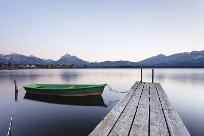 Rowing Boat on Hopfensee Lake at Sunset, Near Fussen, Allgau, Allgau Alps, Bavaria, Germany, Europe-Markus Lange-Photographic Print