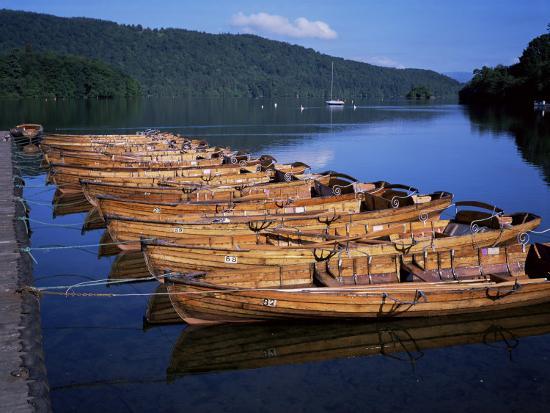 Rowing Boats on Lake, Bowness-On-Windermere, Lake District, Cumbria, England, United Kingdom-David Hunter-Photographic Print