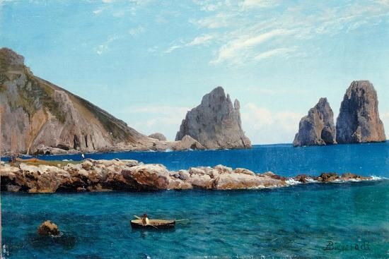 Rowing off the Rocks-Albert Bierstadt-Giclee Print
