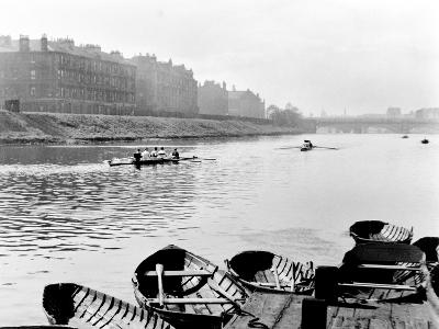 Rowing on the Clyde at Glasgow Green, 1955--Photographic Print