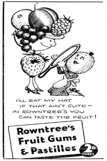 Rowntree's Fruit Gums and Pastilles, 1938--Giclee Print