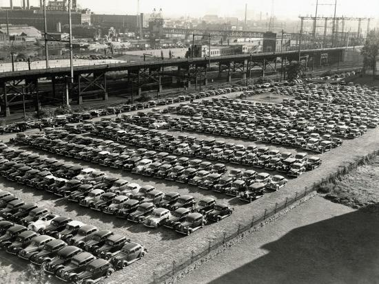 Rows of Cars in Parking Lot, Aerial View, Philadelphia-H^ Armstrong Roberts-Photographic Print