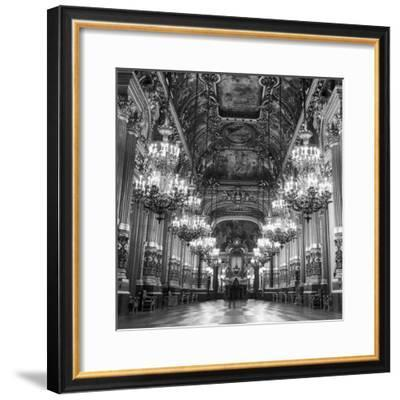 Rows of Chandeliers Hanging in the Grand Lobby of the Paris Opera House--Framed Premium Photographic Print