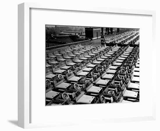 Rows of Finished Jeeps Churned Out in Mass Production for War Effort as WWII Allies-Dmitri Kessel-Framed Photographic Print