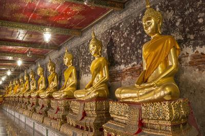 Rows of Gold Buddha Statues, Wat Suthat Temple, Bangkok, Thailand, Southeast Asia, Asia-Stephen Studd-Photographic Print
