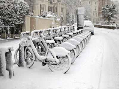 Rows of Hire Bikes in Snow, Notting Hill, London, England, United Kingdom, Europe-Mark Mawson-Photographic Print