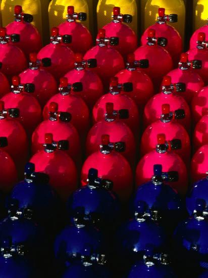 Rows of Scuba Tanks at Club Med, Columbus Isle, Bahamas-Michael Lawrence-Photographic Print