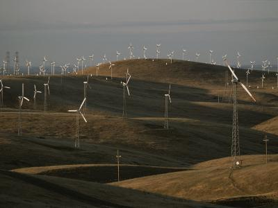 Rows of Windmills on Open Hills Produce Alternative Sources of Energy-Sam Kittner-Photographic Print